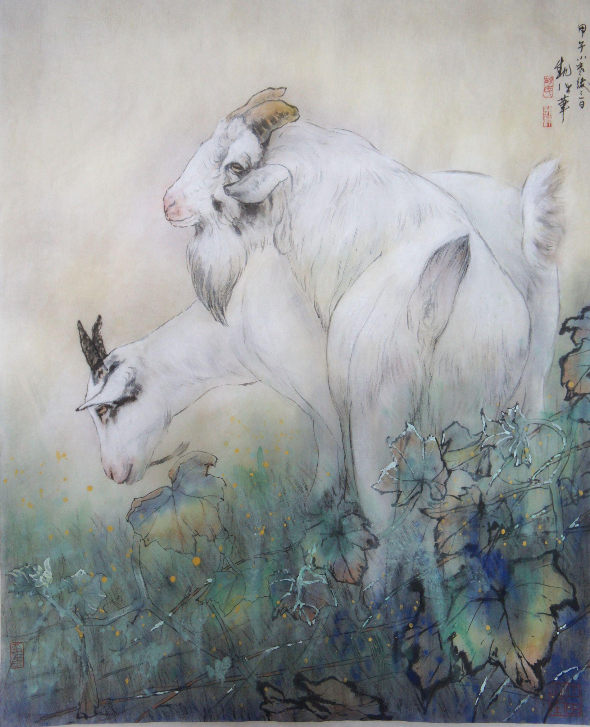 國畫水墨山羊2