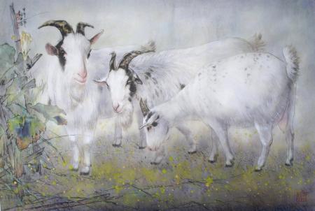 國畫水墨山羊